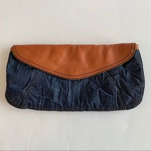 LUCKY BRAND Denim & Leather Clutch